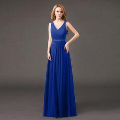 Real Picture 2016 Elegant Multicolor Chiffon Long   Prom Dresses Fashion V-Neck Applique Pearls vestidos de dama de honra 2-28w