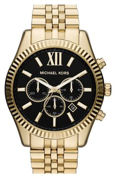 Michael Kors Gold & Black Chronograph Watch