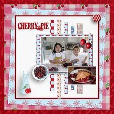 Digital Scrapbooking: Cherries Jubilee Scrapbook Kit in Red, Pink, Aqua Blue and Yellow. via Etsy.