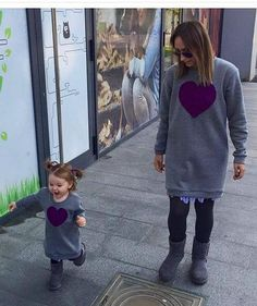grey melange family matching sweat, knitted heart on it, mom and daughter, matching sweats, twinning, matching tunic sweat, matching tunics Maternity Gowns, Maternity Clothing, Knitted Heart, Mommy And Me Outfits, Kids Girls, Boys, Sport Wear, Chic Outfits, My Outfit