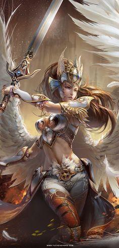 ARINNA, Angel Warrior, by Yu Cheng Hong, Illustrator. Dark Fantasy Art, Anime Fantasy, Fantasy Girl, Fantasy Artwork, Fantasy Art Women, Fantasy Kunst, Fantasy Comics, Fantasy Warrior, Angel Warrior