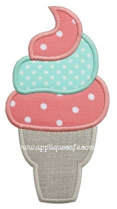 Ice Cream Cone 4 Applique Design