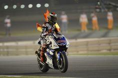Doha, QAT - Jorge Lorenzo takes his factory Yamaha for a victory lap after winning Qatar 2012. #motogp