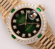 Buy your lady datejust yellow gold watch Rolex on Vestiaire Collective, the luxury consignment store online. Second-hand Lady datejust yellow gold watch Rolex Green in Yellow gold available. Rolex Watches For Men, Luxury Watches For Men, Gold Watches, Wrist Watches, Elegant Watches, Stylish Watches, Cheap Watches, Rolex Women, Rolex Models