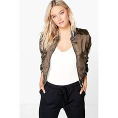 Boohoo Emily Varsity Bomber Jacket ($30) ❤ liked on Polyvore featuring outerwear, jackets, khaki, duster coat, bomber style jacket, quilted jacket, teddy jacket and white bomber jacket
