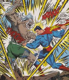 #Superman #Fan #Art.  Superman vs Doomsday: Fight to the Death! By: Curt Swan.