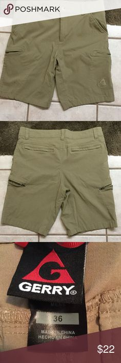 MEN'S. Taupe cargo shorts Very nice Taupe cargo shorts with front slat pockets and side zippered cargo pockets. Material is Shell 74% rayon, 22% nylon,4% spandex. Lining is 100% polyester. NWOT. worn only once Gerry Weber Shorts Cargo