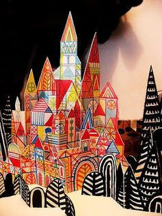 paper villages connect to color elements of art art styles- klee c. c - Sculpture - Print the sulpture yourself - paper villages connect to color elements of art art styles- klee c. connection to grade homes we live in/ grade treehouses? Cardboard Castle, Cardboard Art, Origami, Ecole Art, Elements Of Art, Art Classroom, Art Club, Art Plastique, Elementary Art