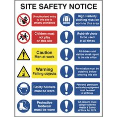 Construction Site Safety Sign With 2 Prohibition, 2 Warning