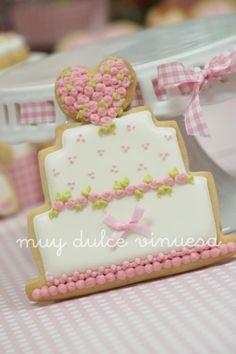 Pink Heart bouquet wedding cake cookie