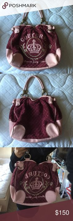 Juicy Couture Purse Maroon x baby pink / length: 15 in. height: 11 in. width: 4 in. when resting but can open up to 10 in wide. Very roomy. Juicy Couture Bags Shoulder Bags