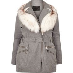 River Island Plus light grey padded faux fur coat ($115) ❤ liked on Polyvore featuring outerwear, coats, coats / jackets, grey, women, faux fur trim coats, women's plus size coats, fake fur coats, river island and plus size coats