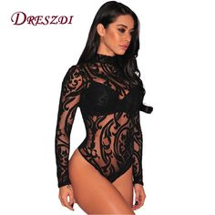 2d15ad9351fe Dreszdi 2017 Autumn High Neck Sheer Mesh Printed Bodysuit Women Sexy Lace  Body Jumpsuit Long Sleeve Bodycon Romper Overalls