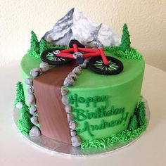 """Stuffed Studio na Instagrame: """"Mountain biking custom cake. #stuffedcakes #customcake #mountainbiking #mountainview"""" Mountain Bike Cake, Mountain Biking, Bicycle Cake, Bicycle Shop, Dirt Bike Cakes, Fathers Day Cupcakes, Baby Shower Desserts, Cakes For Boys, Shower Cakes"""