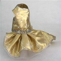 Gold Snowflake Dog Dresses for Christmas Holiday Party at Little Dog Fashion