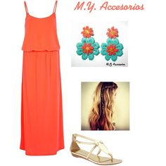 """Turquesa y coral"" by mariantyagua on Polyvore"