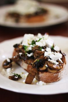 food on paper: Mushroom Bruschetta