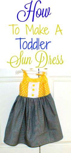 How to make an easy DIY toddler sun dress. #toddler #child #tutorial #sewingtutorial