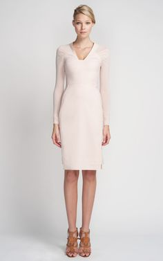 This form fitting pale pink cocktail dress features a v-neck and super soft long sleevesExposed full back zipPlease note this dress has a fabric allowance at back zip for future virgin woolFully linedMade in Italy Sexy Dresses, Blue Dresses, Short Dresses, Fashion Dresses, Cocktail Dresses With Sleeves, Pink Cocktail Dress, Formal Dresses For Teens, Dresses For Work, Antonio Berardi