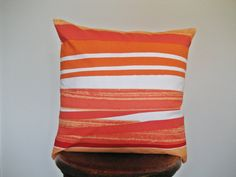 Tangerine Orange and White Striped Marimekko pillow cover 18x18 in by FiscallyChic