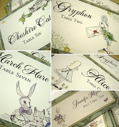Alice in Wonderland table names