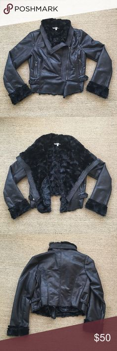 Jennifer Lopez Black Faux Fur Moto Jacket XL Gently worn condition. Worn less than a handful of times. No known piling, tears or stains. 😺🐶 Comes from a smoke-free, but not pet-free home. 🚫 No trades. No holds. 📦 Fast shipping! 🙋🏻 Considering all reasonable offers! Jennifer Lopez Jackets & Coats