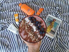 Beach essentials Lancaster breakfast blueberries coconut chia seeds sunflower seeds sunny day chocolate