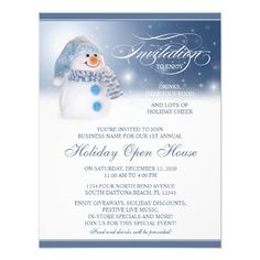 Holiday Open House Store Invitations With Snowman