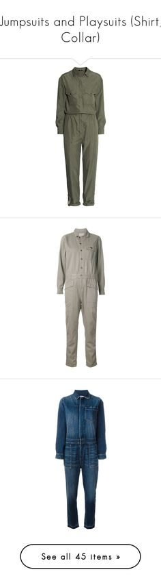 """Jumpsuits and Playsuits (Shirt, Collar)"" by giovanna1995 ❤ liked on Polyvore featuring jumpsuit, jumpsuits, playsuits, rompers, dresses, h&m, khaki green, khaki green jumpsuit, long-sleeve romper and h&m romper"