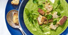 This watercress and pea soup has been pepped-up with some baked lemon and sesame croutons. It's veggie and low-calorie - perfect for a healthy midweek meal