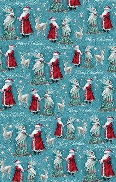 Forest Fairies Santa & Fairy Rollwrap - The Paper D'Art Shop Christmas Border, Christmas Town, Christmas Deer, Christmas Background, Christmas Wallpaper, Christmas Pictures, White Christmas, Vintage Christmas Wrapping Paper, Christmas Gift Wrapping