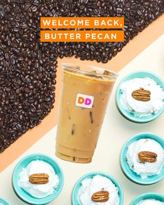 The wait is over! Iced coffee season is here, and so is our iconic flavor featuring sweet buttery pecan. Put a little spring in your step with this sweet treat, and enjoy it iced. Also available hot and in any coffee, latte or macchiato for a limited time Dunkin Donuts Iced Coffee Recipe, Dunkin Donuts Gift Card, Vanilla Iced Coffee, Coffee And Donuts, Coffee Recipes, Pumpkin Spice Coffee, Spiced Coffee, Coffee Latte, Dunkin Donuts Locations