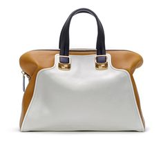 Fendi Spring 2012 - Chameleon tote in white and ochre colorblock leather