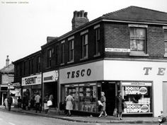 Very early Tesco on Moston Lane and Upper Conran St. Manchester England, Manchester City, Salford, Slums, Derbyshire, British History, History Facts, Old Town, Old Photos