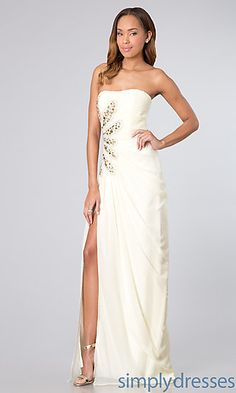 Floor Length Strapless Dress with Side Slit at SimplyDresses.com