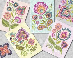 """Wycinanki Floral Blank Note Cards - """"Wycinanki"""" (pronounced Vee-chee-non-kee) is the Polish word for """"paper-cut design.""""  The most well-known modern styles of Wycinanki comes from two districts. One is the Kurpie cut out. This is usually a symmetrical design, cut from a single piece of colored paper, folded a single time, with spruce trees and birds as the most popular motifs. The second style comes from the area of Lowicz, using many layers of brightly colored paper in its composition…"""