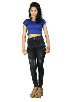 Black high waist distress jeans