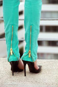 Turquoise skinnies.