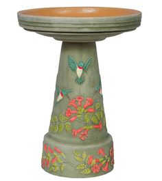 Unique Pedestal Birdbath is hand painted with raised motif and stunning…