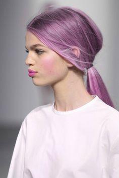 purple hair low ponytail