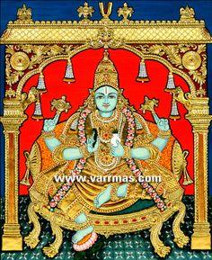 Dhanvantri - God of Health & Medicine Tanjore Painting, DHANVANTRI N MANTAP Tanjore Painting