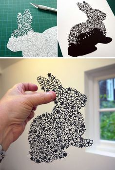 Rabbit of paper. Famous contemporary art | DIY is FUN