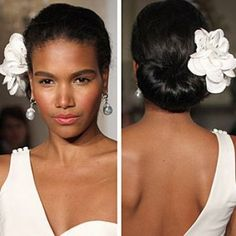 pretty white floral hair accessory and chignon bun bridal wedding runway model accessories bridal hairstyles for black women hairstyles