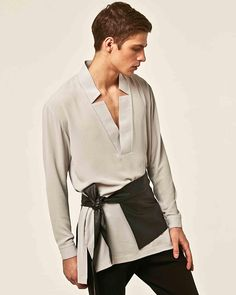 Items similar to ORTTU Star Neck Mens Shirt - Light Crepe Fabric Kimono Top With Long Sleeves - Award Winning Designer Clothing - Gray on Etsy Martial Arts Belts, Retro Fashion, Mens Fashion, Diy Fashion, Korean Fashion, Fashion Tips, Men's Shirts And Tops, Leather Corset, Vintage Outfits