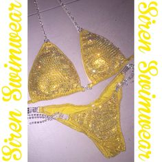 Yellow competition suit by Siren Swimwear! #sirenswimwear #ifbb #npc #npcbikini #npcfigure #wbff #nga