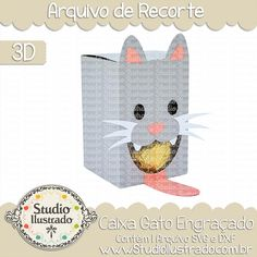 Caixa Gato Engraçado,  Caixa, Gato, Engraçado, Funny Cat Box, Funny, Cat, Box, projeto 3d, boxes, box, arquivo de recorte, caixa, 3d,svg, dxf, png, Studio Ilustrado, Silhouette, cutting file, cutting, cricut, scan n cut.