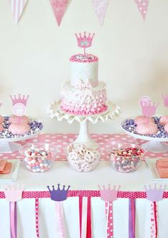 Pink and purple dessert table at a princess birthday party! See more party ideas at CatchMyParty.com!