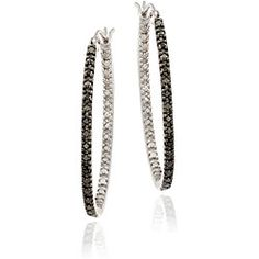 @Overstock - These classical hoop earrings shimmer with a black rhodium design on the outer side and a silver pave pattern on the inner side to give the impression of additional diamonds. Crafted of sterling silver, each earring features five round black diamonds.http://www.overstock.com/Jewelry-Watches/Sterling-Silver-1-10ct-TDW-Black-Diamond-Oval-Hoop-Earrings/4832045/product.html?CID=214117 $37.19