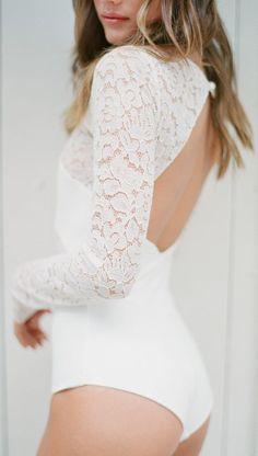 Featured: Rime Arodaky; Long-sleeve bodysuit idea. Bodysuit With Sleeves, White Long Sleeve Bodysuit, White Bodysuit, Dance Bodysuits, Wedding Bodysuit, Unusual Wedding Dresses, Wedding Skirt, Body Suit Outfits, Women's Shapewear
