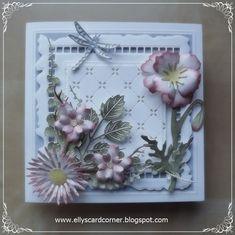 Elly's Card- Corner Sue Wilson Dies, Heartfelt Creations, I Card, Greeting Cards, Butterfly, Crafty, Corner, Frame, Flowers